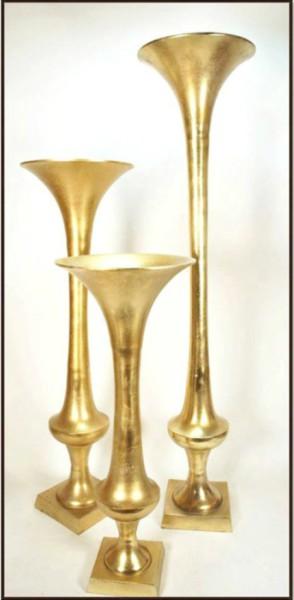 ″ gold trumpet vase art pancake party wedding rental