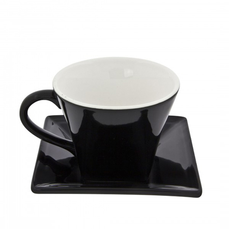 Black Square Coffee Cup Or Saucer